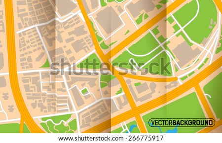 Brochure with folds city map - stock vector