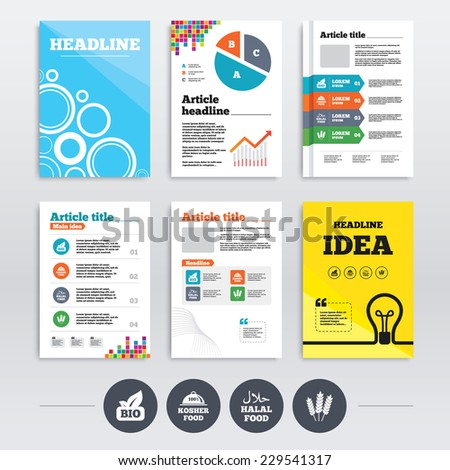 Brochures and A4 flyer leaflets. Natural Bio food icons. Halal and 100% Kosher signs. Gluten free agricultural symbol. Infographics design set. Vector - stock vector
