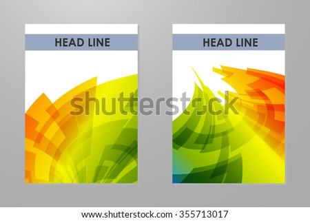 Brochures with colorful rainbow geometrical background. - stock vector