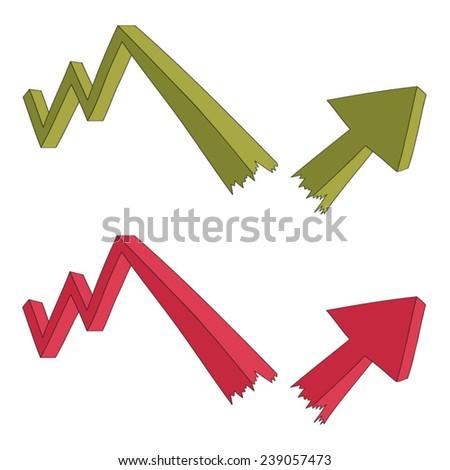 Broken arrow three-dimensional vector  - stock vector