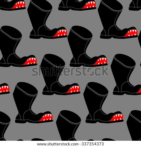 Broken boot seamless pattern. Toothy old shoes with hole background. Shoe fabric texture. - stock vector