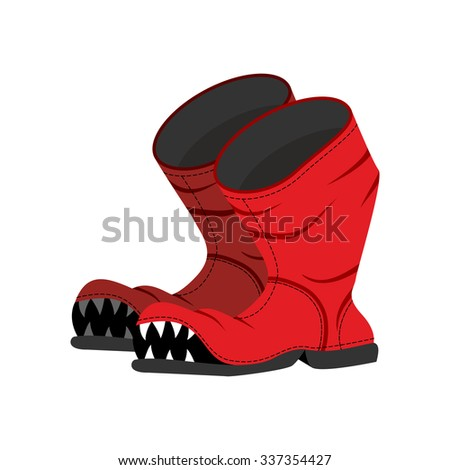 Broken boot with teeth. Old shoes with hole. Dreaded boot. - stock vector