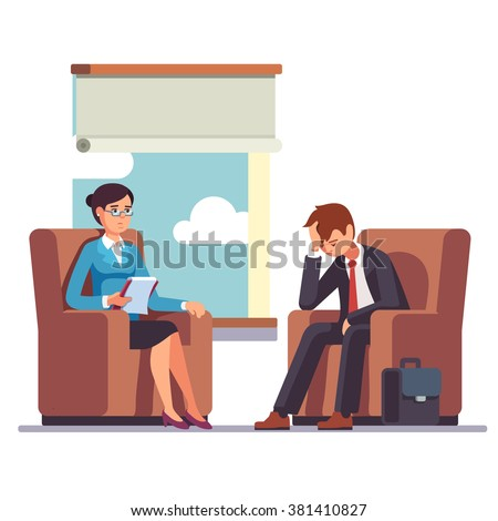Broken businessman talking to psychologist. Psychotherapy counseling. Business man dealing with stress. Flat style modern vector illustration. - stock vector