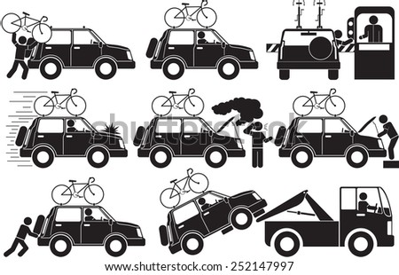broken car icon set - stock vector