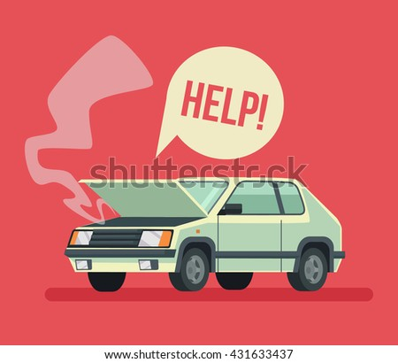 Broken car. Road accident. Car with open hood. Vector flat cartoon illustration - stock vector