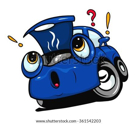 Broken cartoon car with open hood - stock vector
