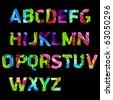 broken color alphabet - stock vector