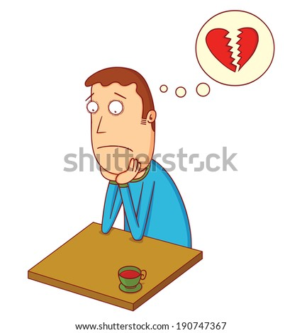 broken heart boy - stock vector