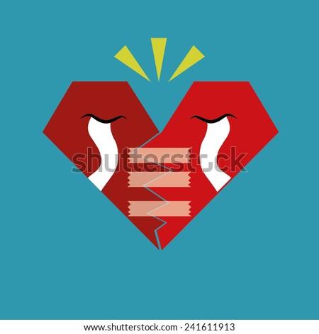 Broken Heart Calling for Help, Cartoon Vector Illustration. A broken red heart crying  - stock vector