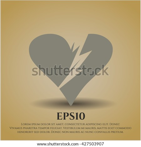 Broken heart icon, Broken heart icon vector, Broken heart icon symbol, Broken heart flat icon, Broken heart icon eps, Broken heart icon jpg, Broken heart icon app, Broken heart web icon - stock vector