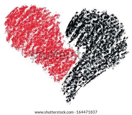 Broken heart painted with crayon pencils. Vector illustration - stock vector
