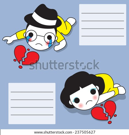 Broken Hearted Us paper note illustration set - stock vector