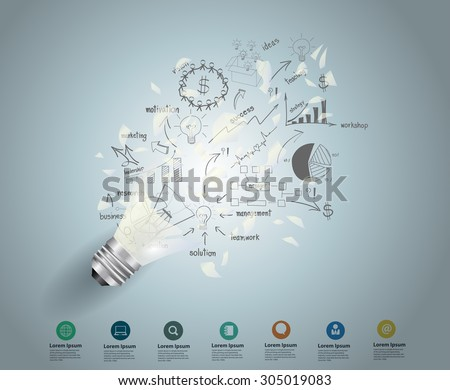 Broken light bulb with drawing charts and graphs business success strategy plan idea, Inspiration concept modern design template workflow layout, diagram, step up options, Vector illustration - stock vector