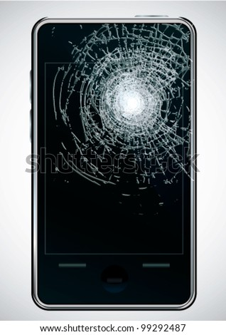Broken mobile phone - stock vector
