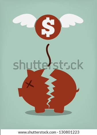 Broken Piggy Bank concept for financial crisis or economic depression - stock vector