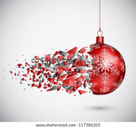 Broken red Christmas ball. Eps 10 - stock vector