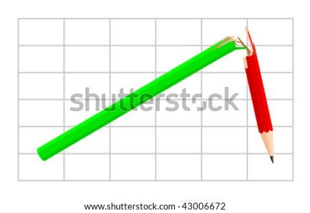Broken trend - stock vector