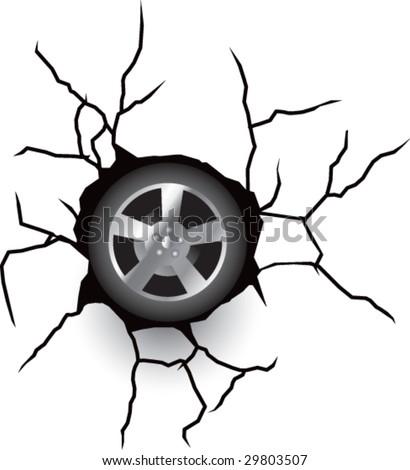 broken wall with wheel or tire - stock vector