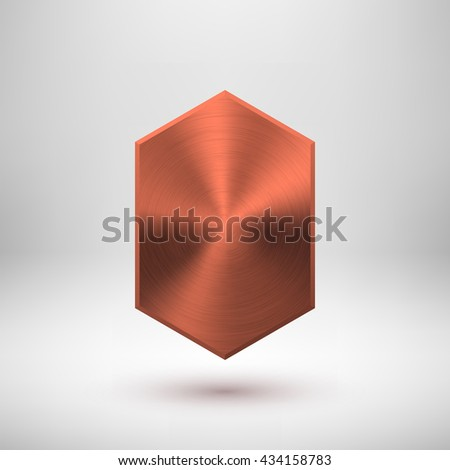Bronze abstract technology geometric badge, blank button template with metal texture, chrome, silver, steel, copper and realistic shadow for logo, design concepts, web, apps. Vector illustration. - stock vector