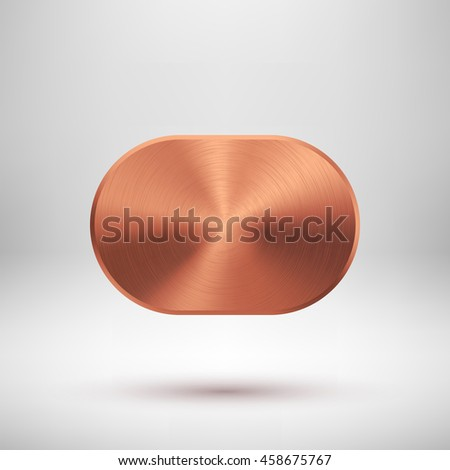 Bronze abstract technology geometric badge, blank button template with metal texture, chrome, silver, steel, copper and realistic shadow for logo, design concepts, prints, web. Vector illustration. - stock vector