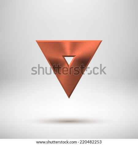 Bronze abstract technology triangle badge, blank button template with metal texture (chrome, steel), realistic shadow and light background for web user interfaces, UI, applications, apps. Vector. - stock vector