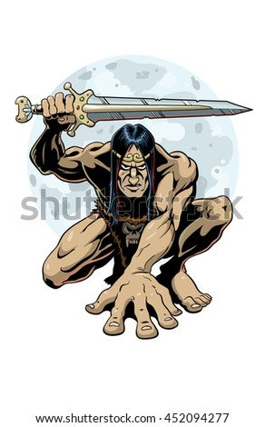 Bronze Age Barbarian. - A mighty barbarian warrior from the age of bronze, crouching and holding a sword.  - stock vector