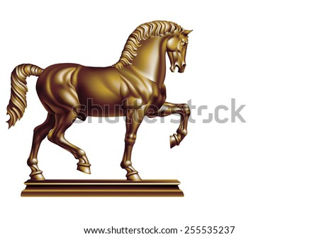 Bronze Horse on a white background - stock vector