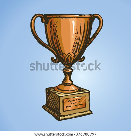 Bronze old ui rank won player status vase isolated on yellow backdrop. Freehand outline ink hand drawn scribble icon sketch in art retro scribble style pen on paper. Closeup view with space for text - stock vector