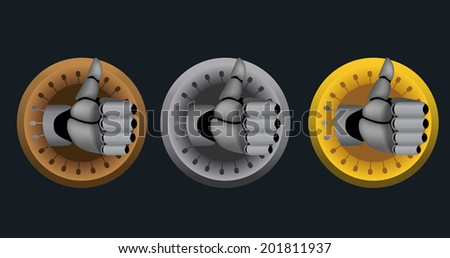 Bronze, silver, gold, vector cyborg thumb up rating icons on black background - stock vector