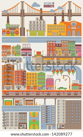 Brooklyn building background,vector city - stock vector
