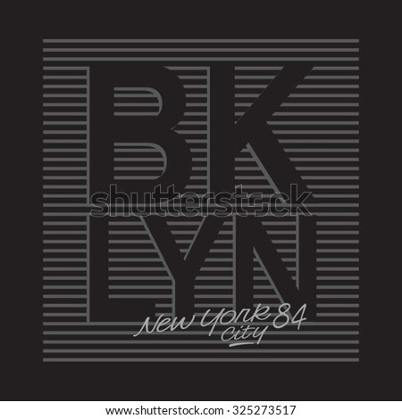 Brooklyn New York typography, t-shirt graphics, vectors - stock vector