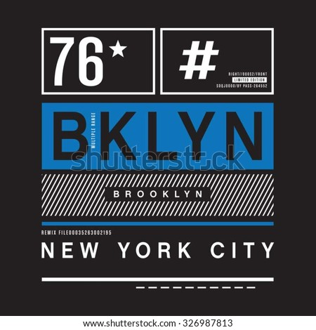 Brooklyn remix typography, t-shirt graphics, vectors - stock vector
