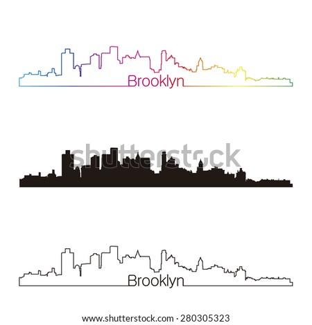 Brooklyn skyline linear style with rainbow in editable vector file - stock vector