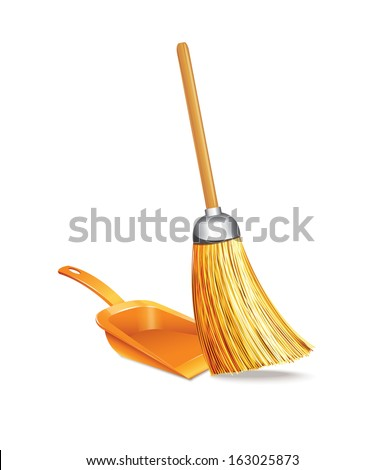 Broom And Dustpan - stock vector