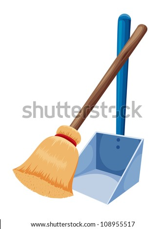Broom and dustpan isolated on white - stock vector