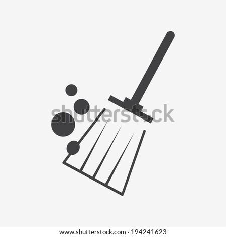 broom brush icon - stock vector