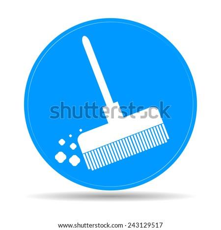 Broom vector icon Flat vector illustration  - stock vector