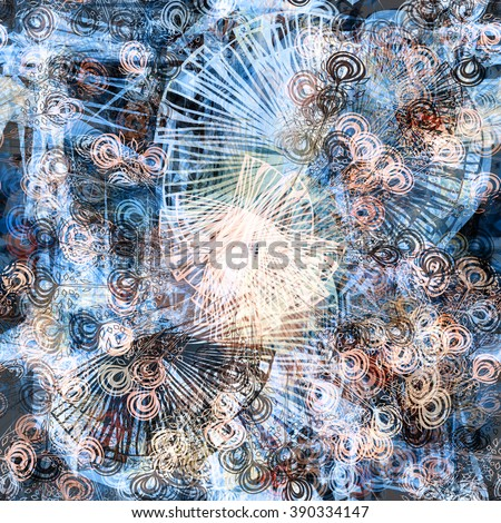 Brown and blue floral seamless tropical pattern. Boho background for design. Spots, scratch, grunge. With effect blur and watercolors. Vector abstract template - stock vector