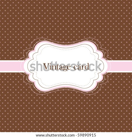 Brown and pink vintage card, polka dot design - stock vector
