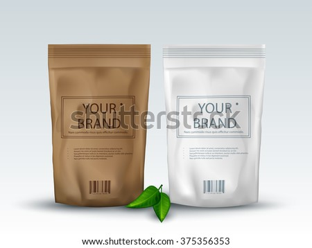 Brown and White Blank Foil Food Or Drink ,Bag Packaging - stock vector