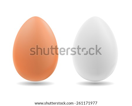 Brown and white eggs on background. vector illustration - stock vector