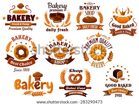 Brown bakery emblems, symbols and labels isolated on a white background, emphasizing daily fresh, best choice and premium quality - stock vector