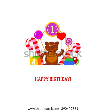 Brown bear and candies for first day of the birth of the baby. Sweet  greeetings vector card. Flat birth bear with love heart illustration. Romans and holiday text gift background.  - stock vector