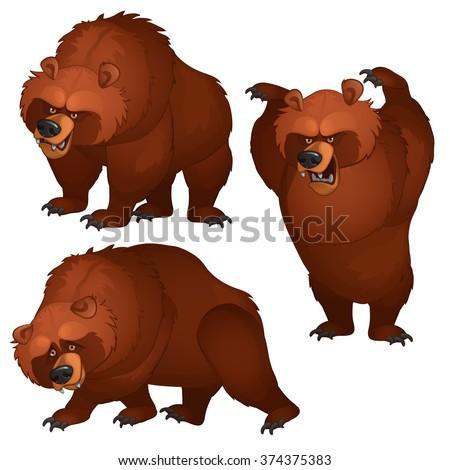 Brown bear attacks and runs away. Vector illustration. - stock vector