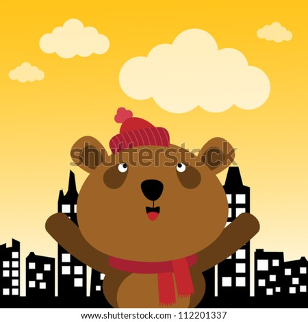 Brown bear in the city - stock vector