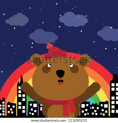 Brown bear in the city at night with rainbow - stock vector
