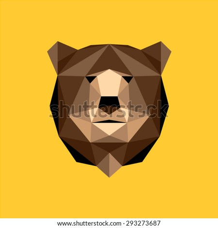 Brown bear portrait. Abstract low poly design. Vector illustration. - stock vector