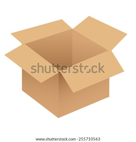 Brown/beige cardboard box vector - stock vector