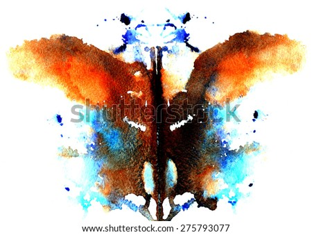 brown- blue watercolor symmetrical Rorschach blot on a white background - stock vector