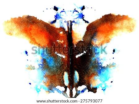 brown- blue watercolor symmetrical Rorschach blot on a white background - stock vector